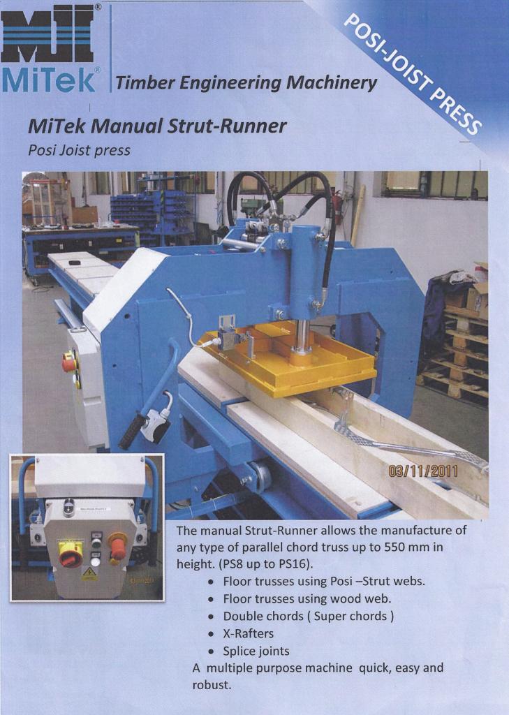 Posi Strut Manual Press Brochure Mitek Uk And Ireland