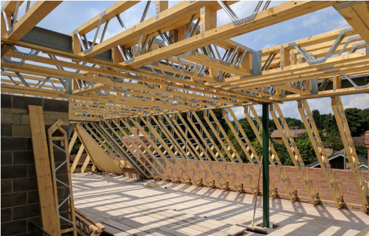 a roof construction using Posi-Joist
